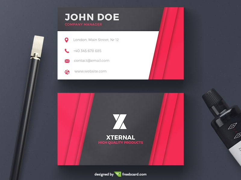 Free download editable business card templates freebcard psd 781 red corporate business card wajeb Image collections