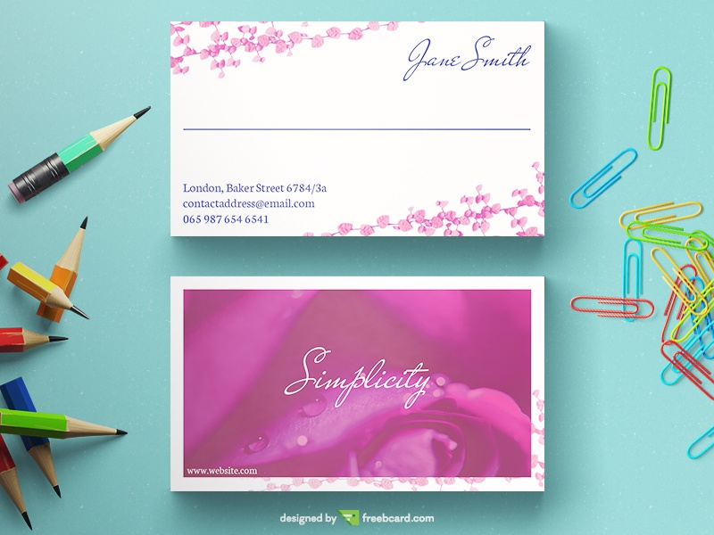 Light Floral Business Card - Freebcard