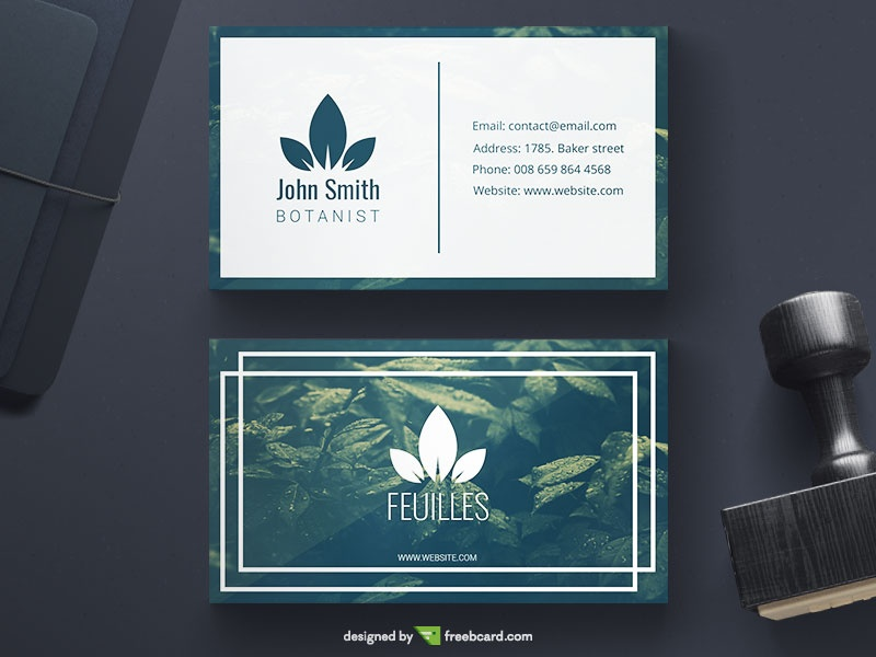Green Botanical Business Card - Freebcard