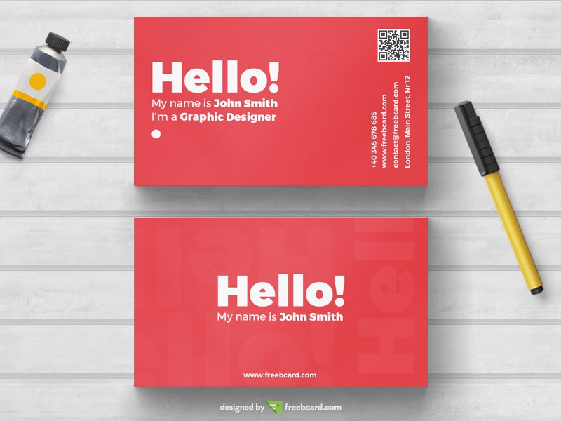 Minimal red business card template freebcard accmission Gallery