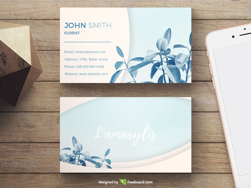 Business Card With Plants - Freebcard