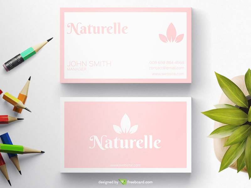 Simple baby pink business card freebcard colourmoves