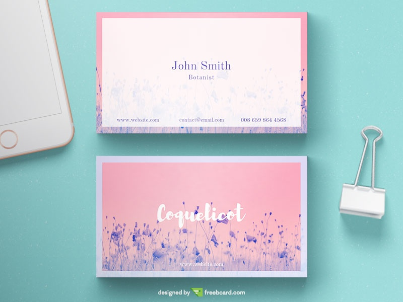Floral business card template - Freebcard