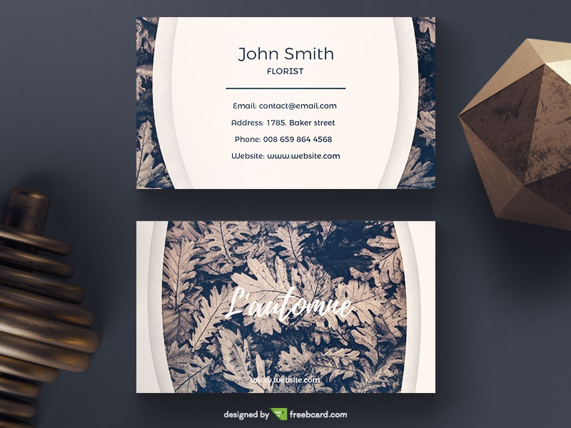 Duotone Business Card With Leaves - Freebcard