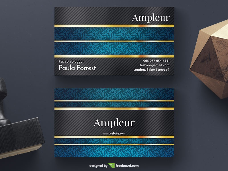 Download free luxury business card templates freebcard blue and gold elegant business card fbccfo Image collections