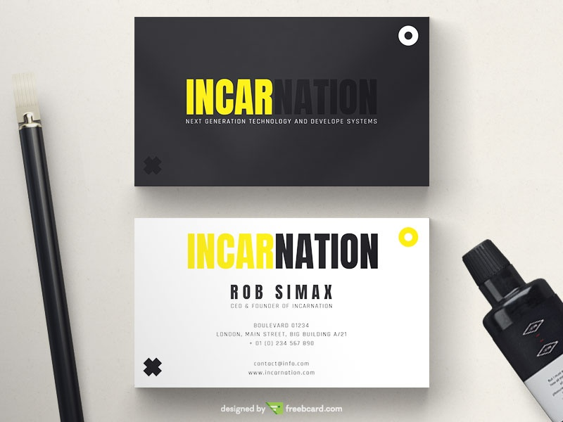 Free download editable business card templates freebcard minimal black and yellow business card reheart