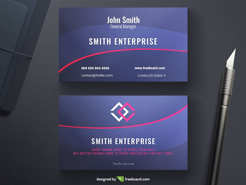 Free download editable business card templates freebcard blue elegant business card flashek Images