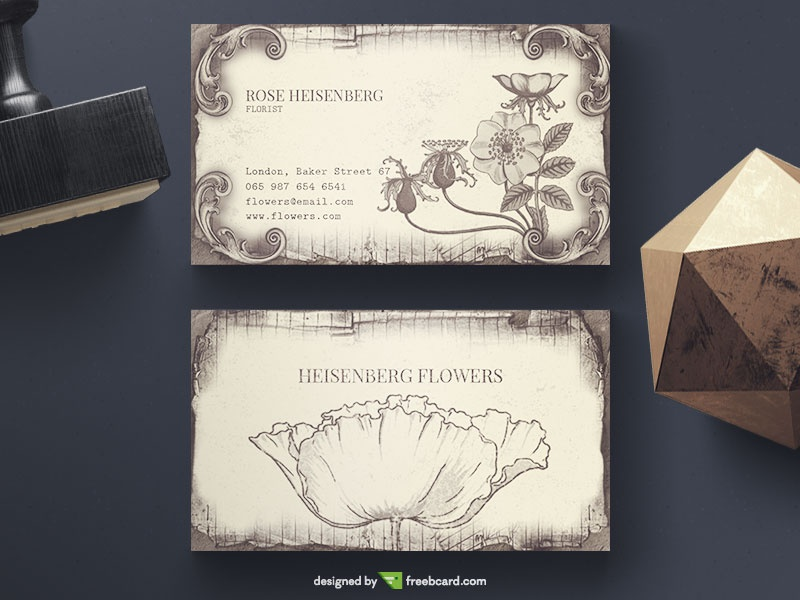 Vintage Floral Business Card - Freebcard
