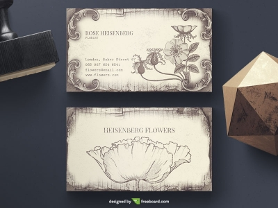 Download free vintage business card templates freebcard vintage floral business card wajeb Images
