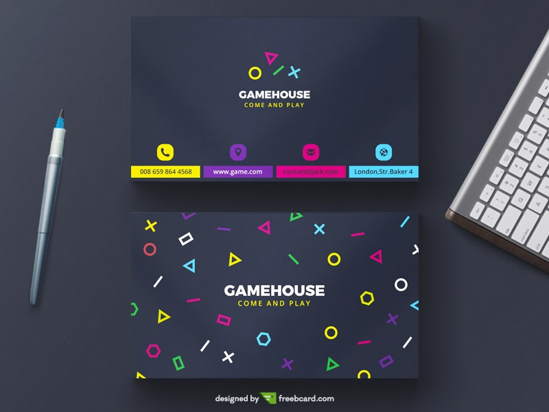 Creative game business card template freebcard for Video game business cards