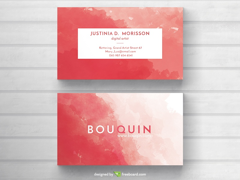 Red watercolor business card freebcard reheart Gallery