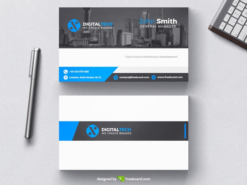 Digital tech business card template - Freebcard
