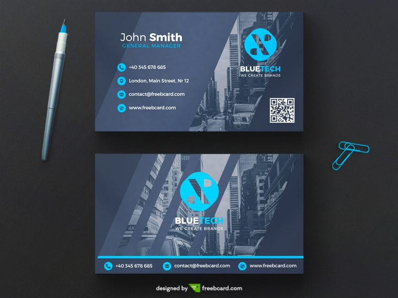 Corporate business card template freebcard blue corporate business card template freebcard accmission Images