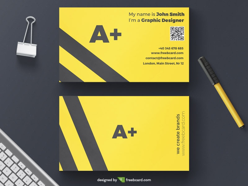Minimal yellow agency business card template - Freebcard