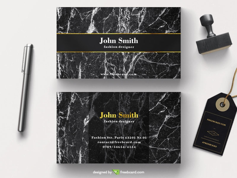 Luxury business card on marble background - Freebcard