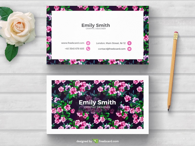 Floral business card template freebcard in free business card template nature reheart Image collections