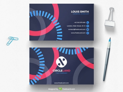 Minimal agency business card with circle elements