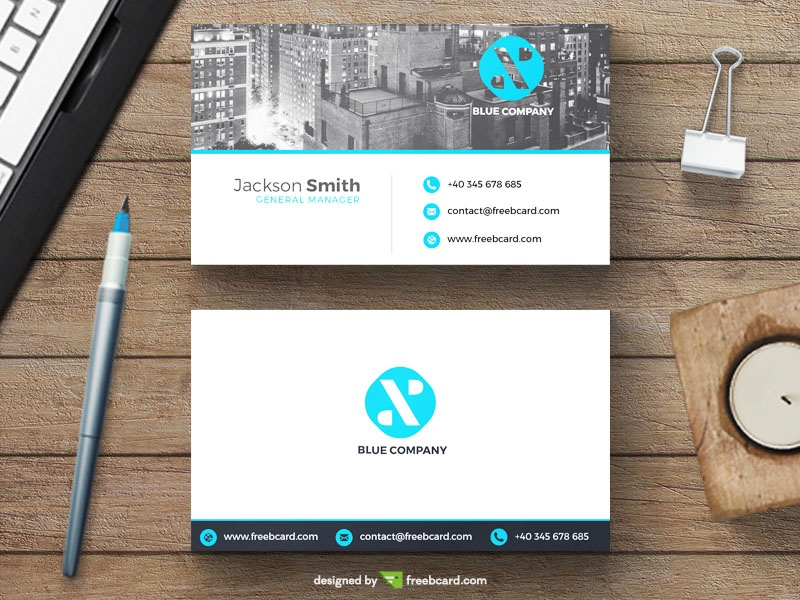 Minimal business card with new york skyline freebcard colourmoves