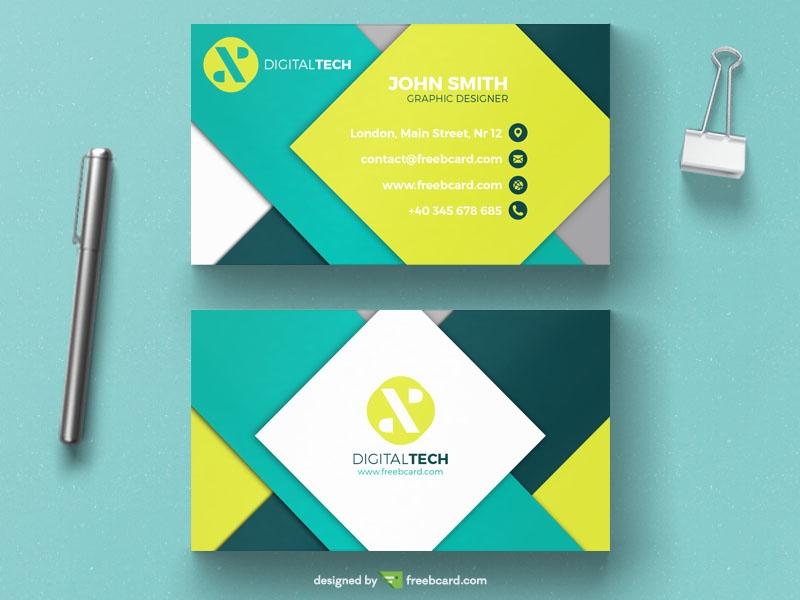 minimal green business card - Freebcard