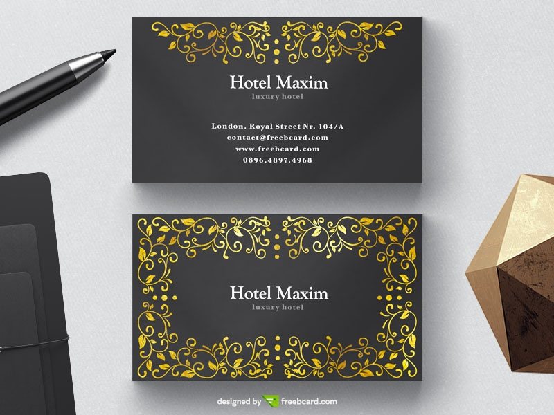Luxury black business card with golden floral elements - Freebcard