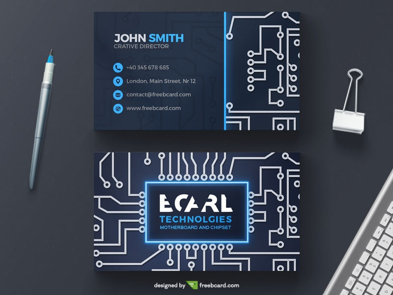 Technological circuit business card template freebcard wajeb Choice Image