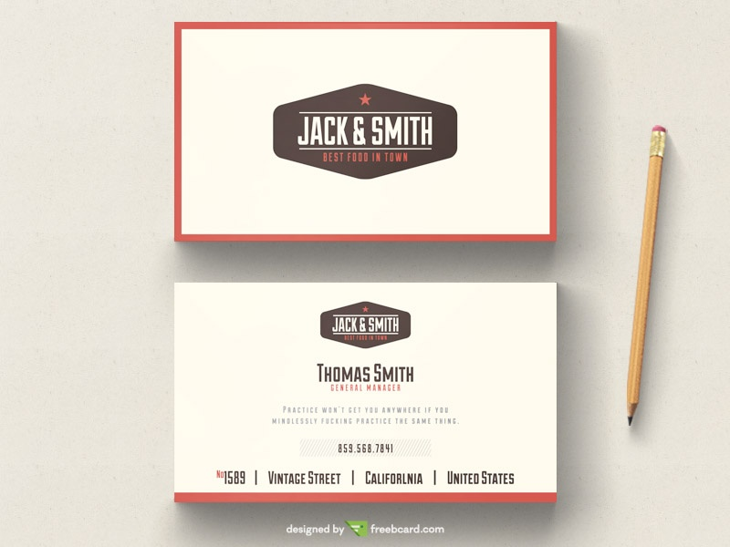In Free Business Card Template Vintage