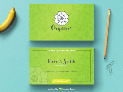 Minimal green floral business card template