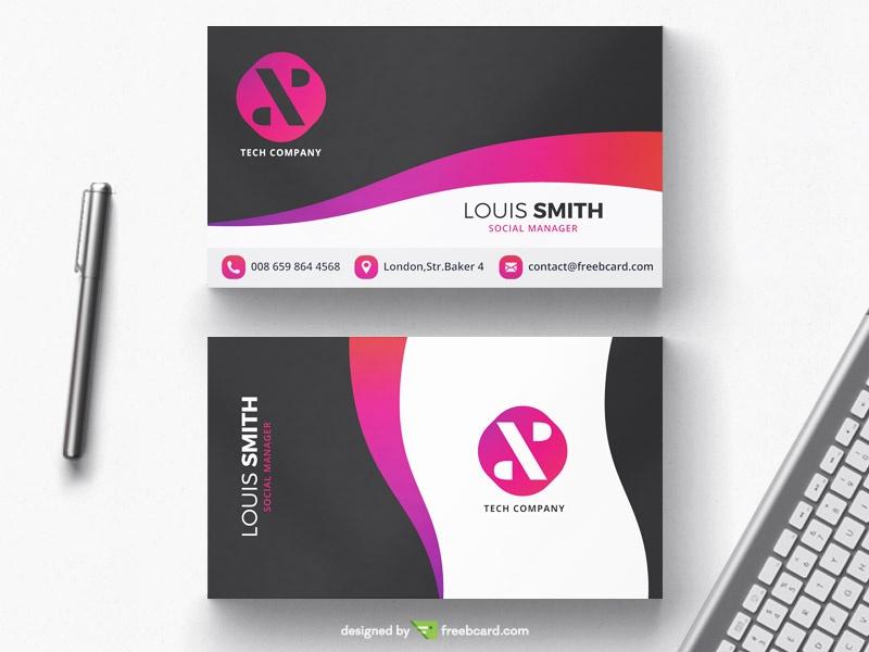 purple business card template - Freebcard