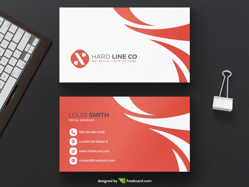 Red minimal business card template freebcard fbccfo Choice Image