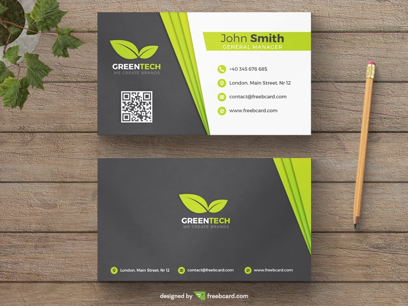 Green and grey natural business card template freebcard in free business card template nature reheart Image collections