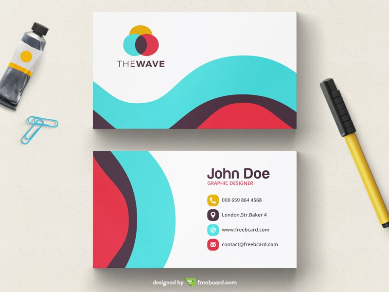 Simple wavy colored business card tempalte - Freebcard