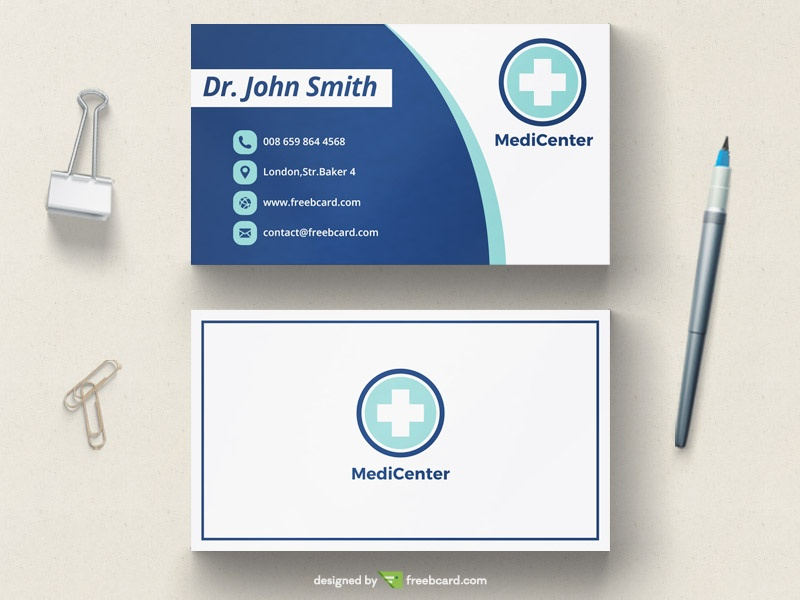 Clean modern medical business card template freebcard in free business card template medical health cheaphphosting Gallery