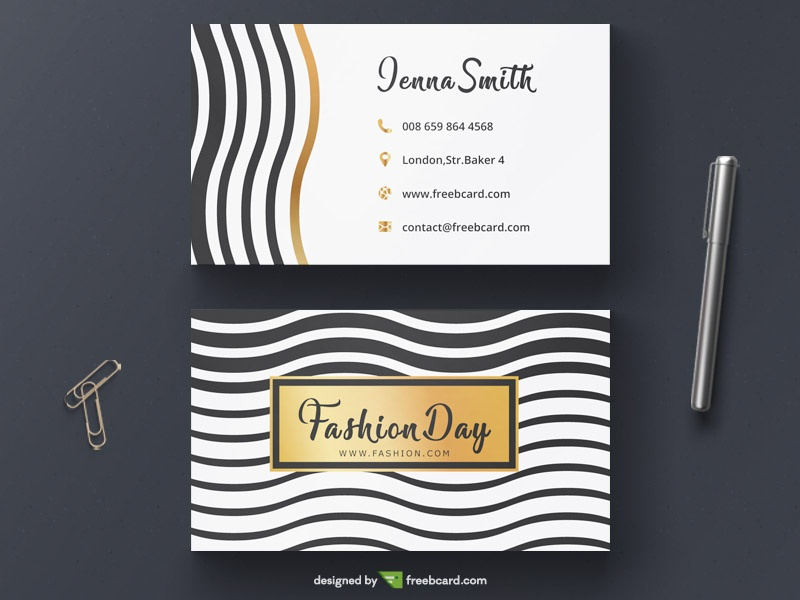 Wavy fashion business card with gold elements freebcard in free business card template beauty fashion flashek Images
