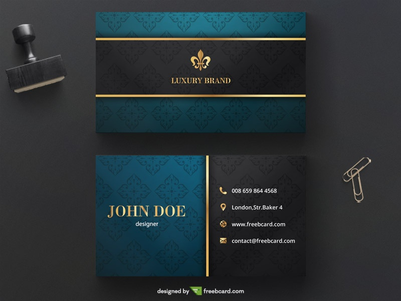 Luxury Golden Business Card Template Freebcard - Business card template with photo