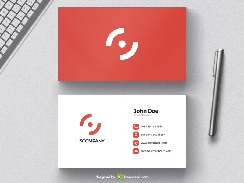 Clean red business card design freebcard accmission Gallery