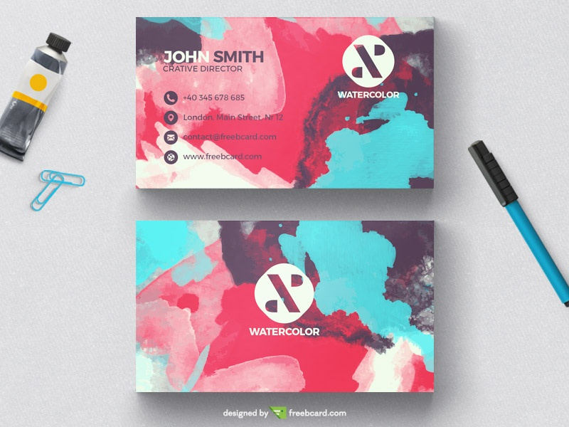 Creative watercolor business card template freebcard in free business card template creative wajeb Image collections