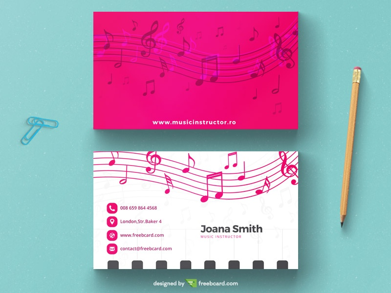Musical magenta business card template - Freebcard