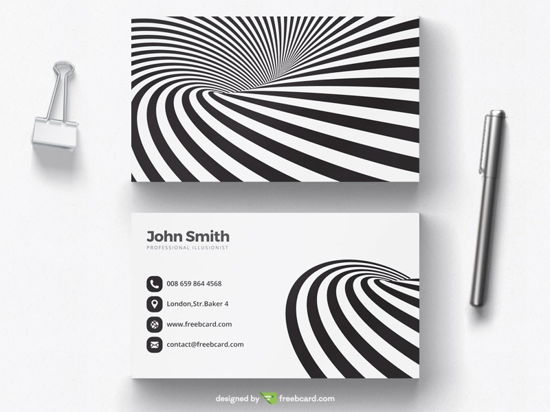 Black and white optical illusion business card - Freebcard