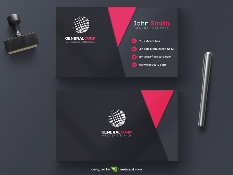 Pink and black corporate business card - Freebcard