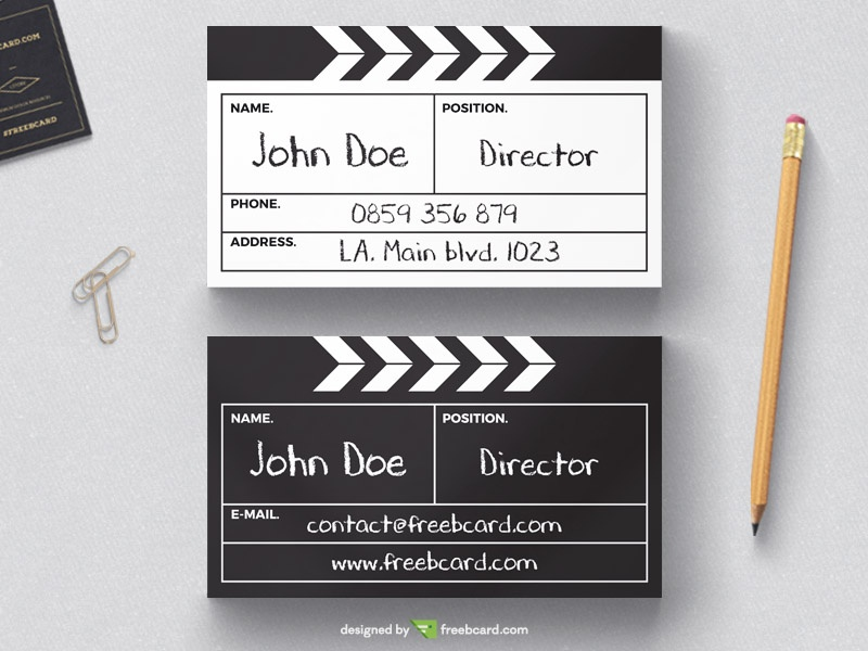 Directors Cut Board Business Card Template Freebcard