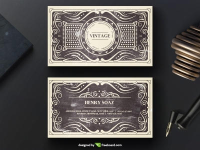 Elegant black vintage business card template