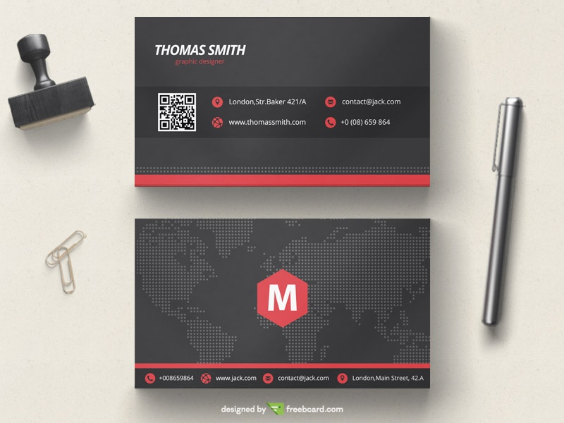 Black and red corporate business card - Freebcard