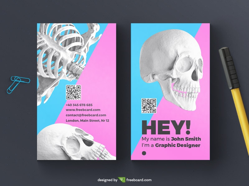 skull business card template - Freebcard