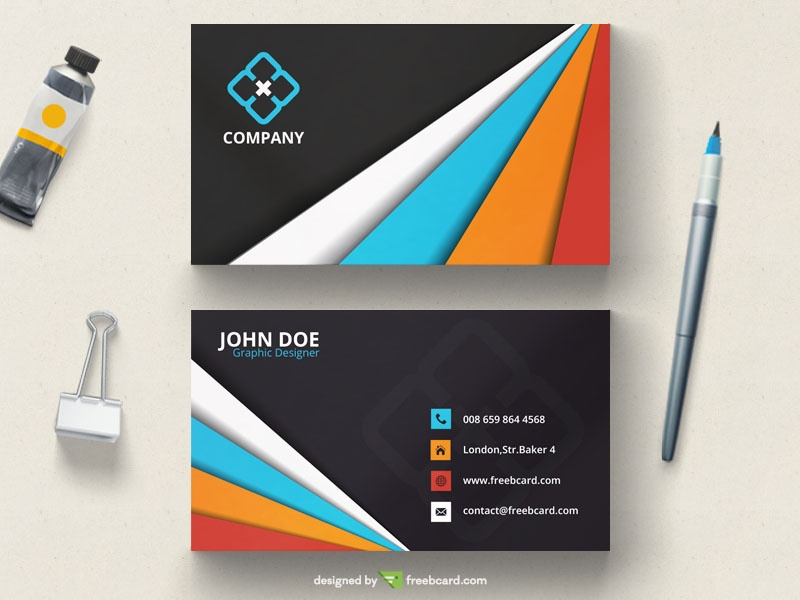 colorful business card template - Freebcard
