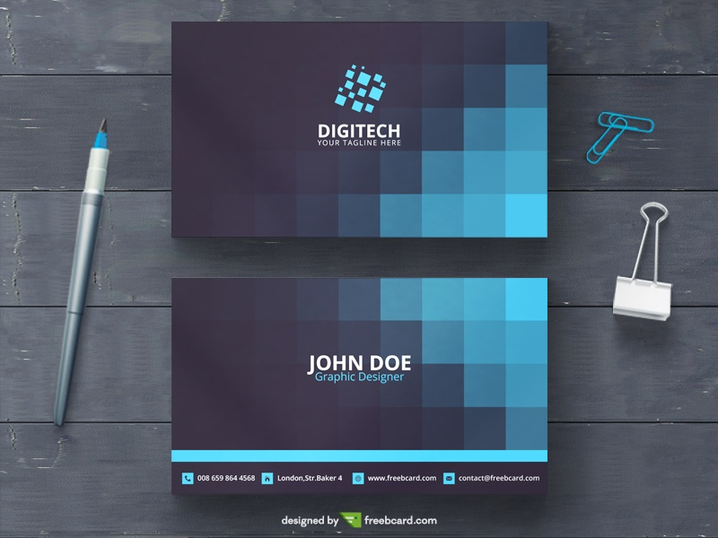 Blue business card with squares - Freebcard