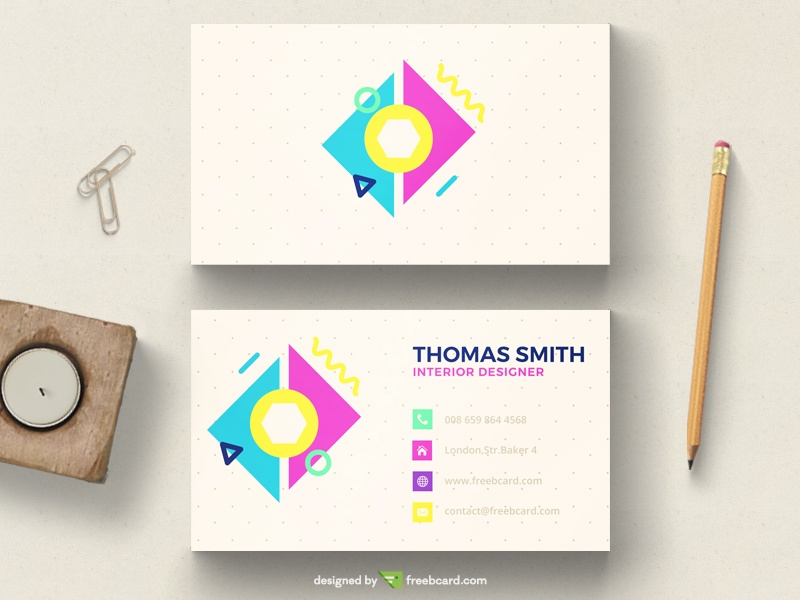 Colorful pastel minimal business card - Freebcard