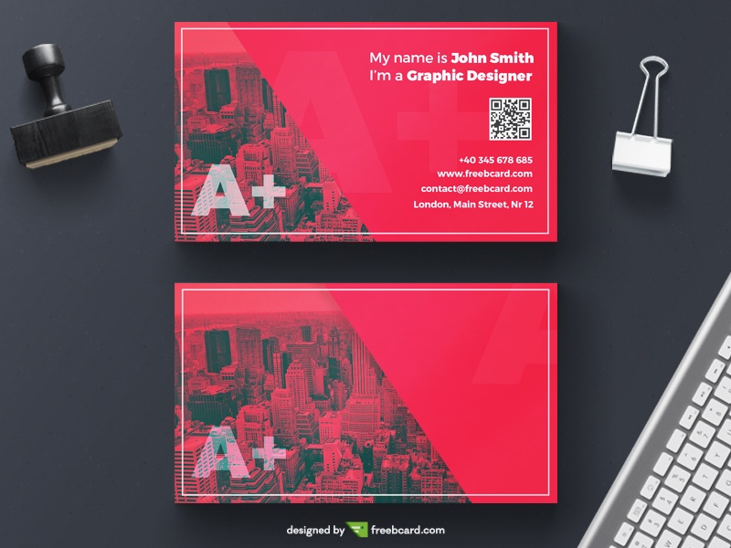 Red creative business card for agencies - Freebcard