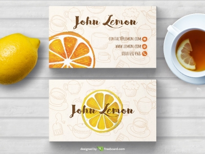 Tea business card in hand drawn style