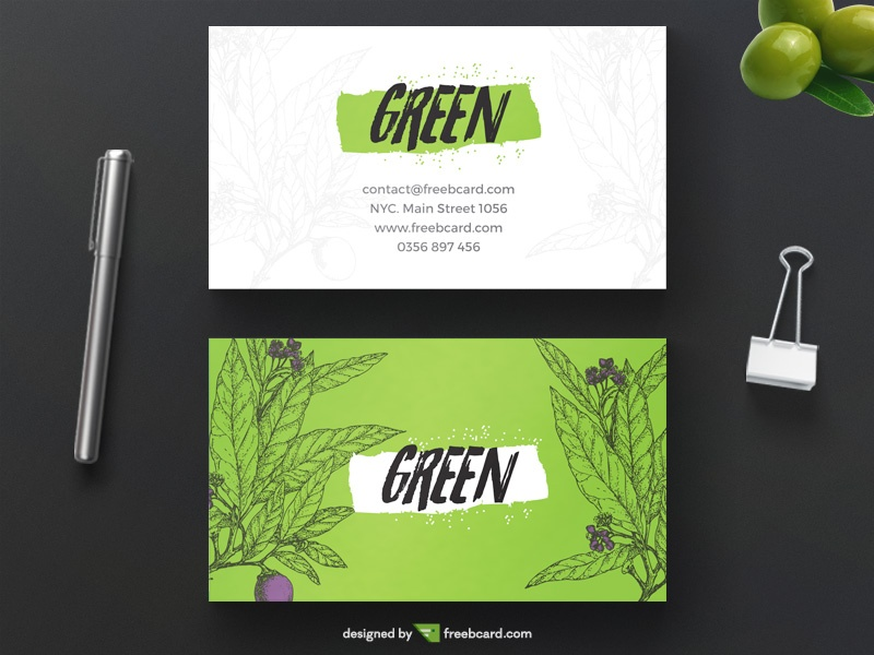 Green bio business card freebcard colourmoves