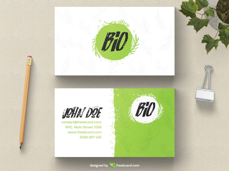 Green natural business card freebcard in free business card template nature reheart